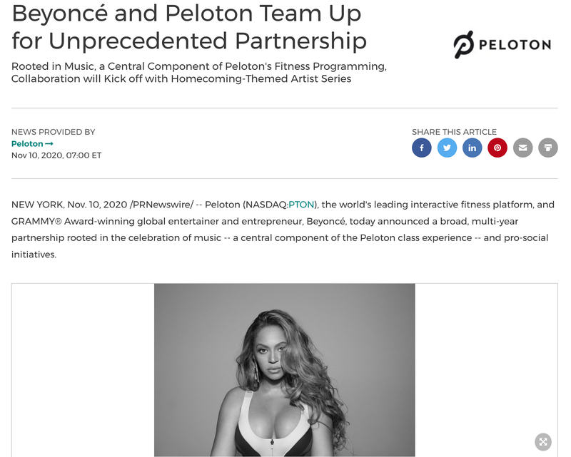 Press release with photo of Beyonce.