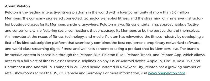Information about Peloton