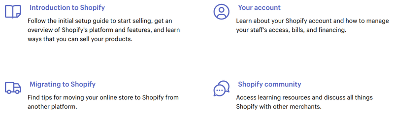 Shopify resources include an introductory guide, a guide to migrating to Shopify, information about your account, and the Shopify community.