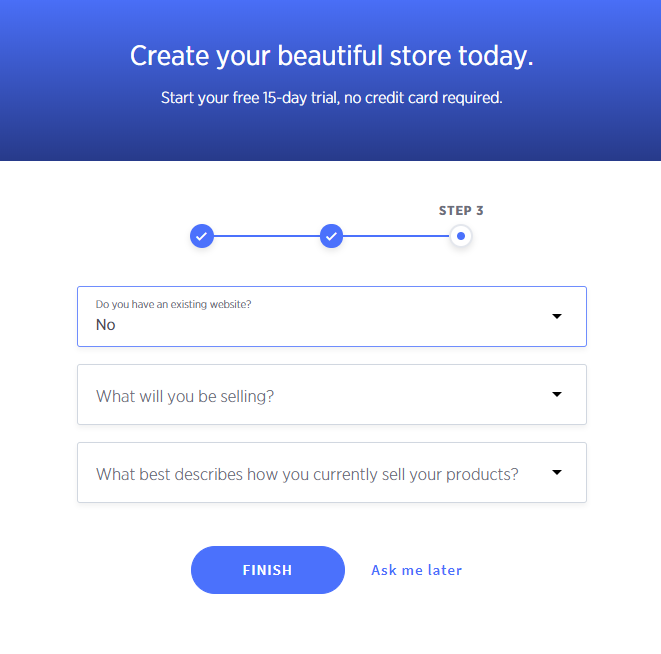 The BigCommerce store builder asks if you already have a website, what you'll be selling, and about your sales process.