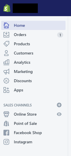 The Shopify left-hand navigation menu provides easy access to your orders, products, customers, analytics, marketing, discounts, apps, and sales channels.