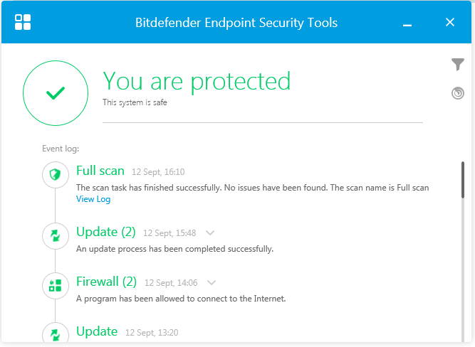 Bitdefender's Endpoint Security Tools show the protection status of individual machines through a simple interface.