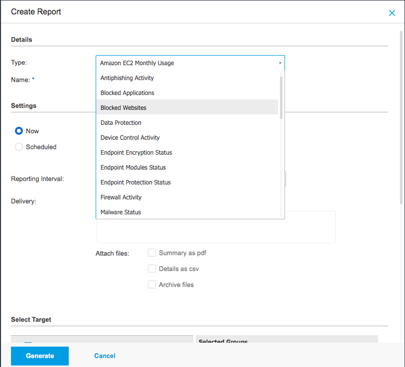 The Create Reports feature provides a drop-down to choose and run many report types.