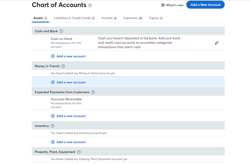 Chart of Accounts on Wave accounting software
