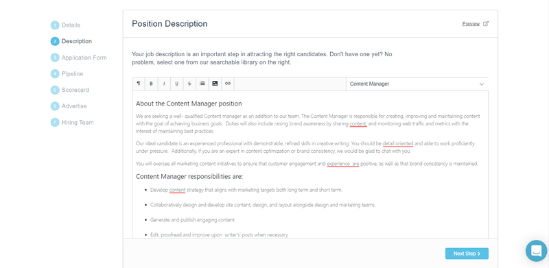 Screenshot of Breezy HR's job description templates for job ads.
