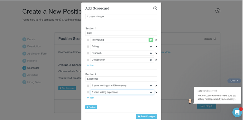 A screenshot of Breezy HR's scorecard feature to evaluate job candidates.