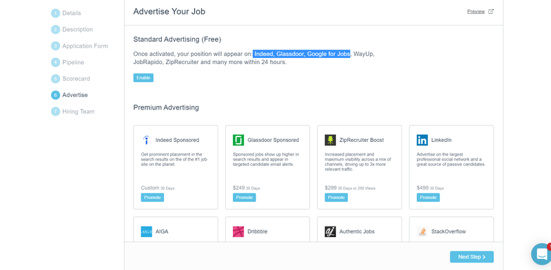 Screenshot of Breezy HR section for job board placements.