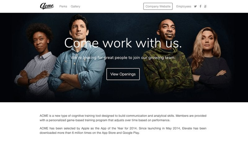 A screenshot of Breezy HR's customizable careers portal.