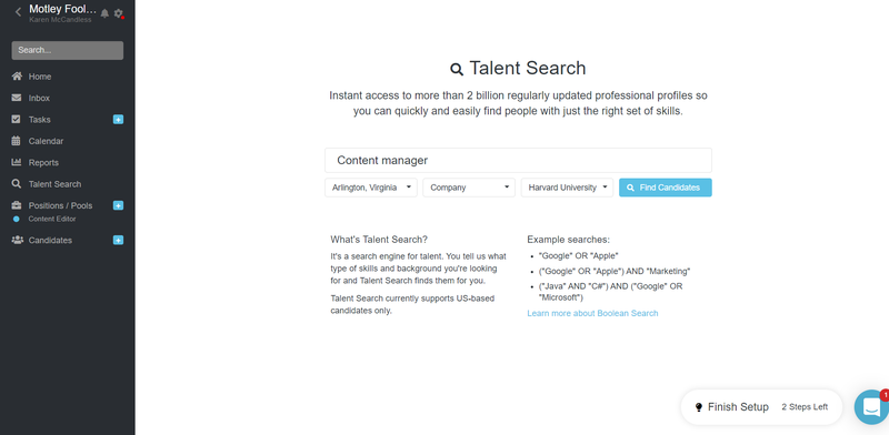 Screenshot of Breezy HR's talent search function to source candidates.