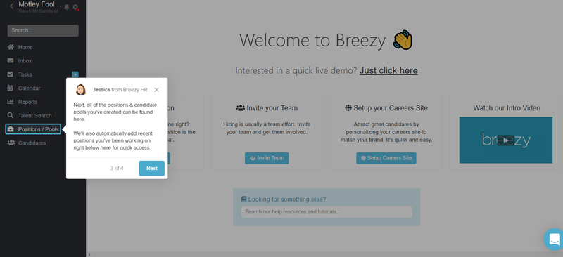 A screenshot of Breezy HR's tutorial tips to learn the software.