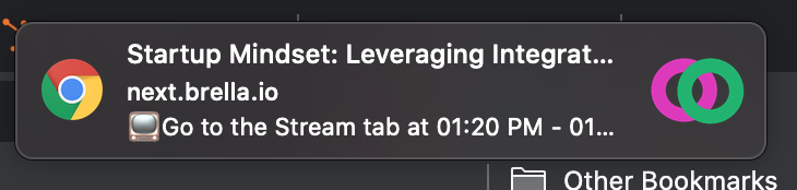 A reminder notification on Brella showing a Google Chrome and Brella logo, the name of a booked session, and a call-to-action to join the livestream.