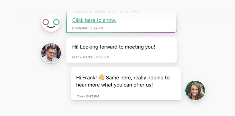 Two avatar bubbles showing attendees' text exchange confirming a future meeting.