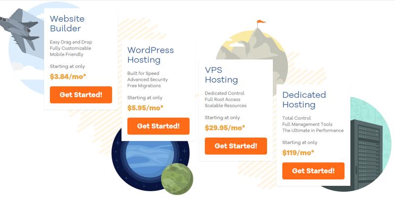 HostGator's four different hosting packages including website builder, WordPress hosting, VPS hosting, and dedicated hosting.