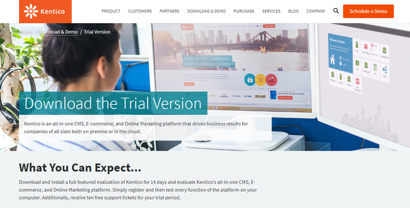 Kentico landing page prompting the viewer to download a free trial of the Kentico CMS.