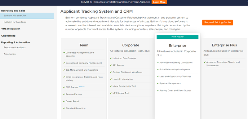 Bullhorn ATS and CRM showing team, corporate, enterprise and enterprise plus pricing plans