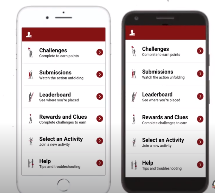 An Outback Team Building & Training app on a cell phone.