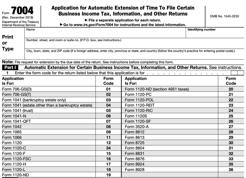 A screenshot of part one of Form 7004, Application for Automatic Extension of Time to File Certain Business Income Tax, Information, or Other Returns.