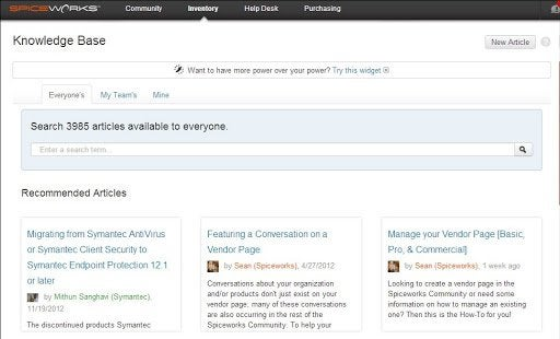 The Spiceworks knowledge base interface allows users to access all its contents, articles their teams have written, or articles they've written themselves.