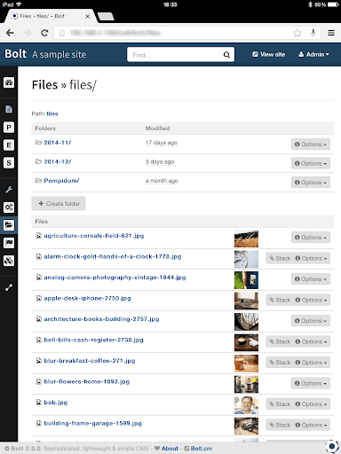 Bolt file screen on an iPad mobile view listing file folders and various image files.