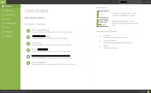 Sitefinity dashboard with left-hand navigation menu and a list of recent items and tutorial videos.