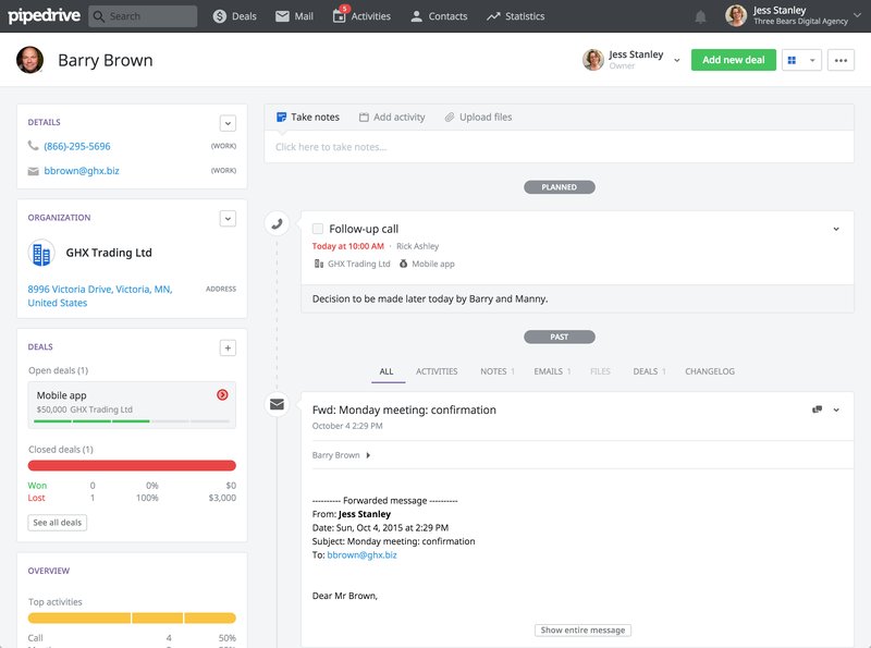 The Pipedrive customer dashboard contains important customer information, including contact info, past and current deals, and customer communications.