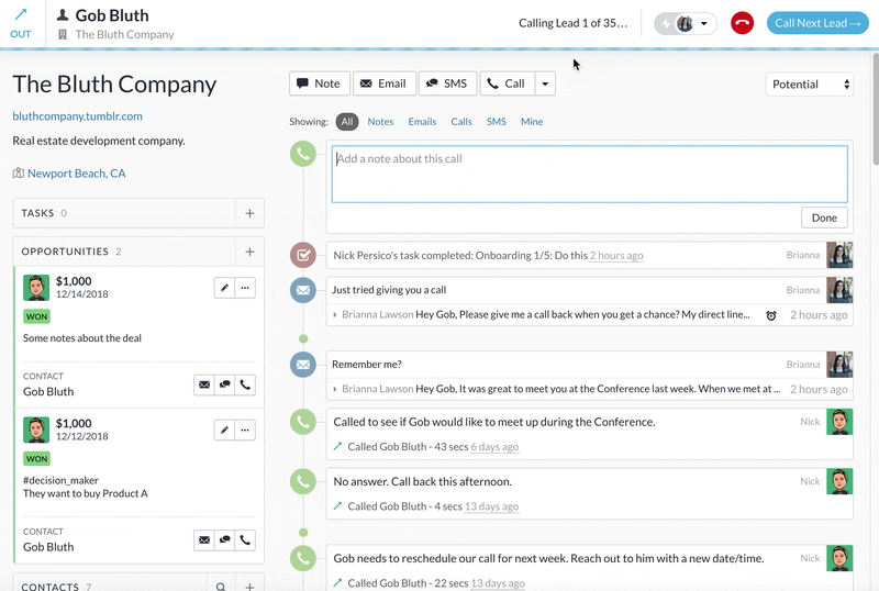Layout of a customer profile from a CRM platform that includes real-time updates