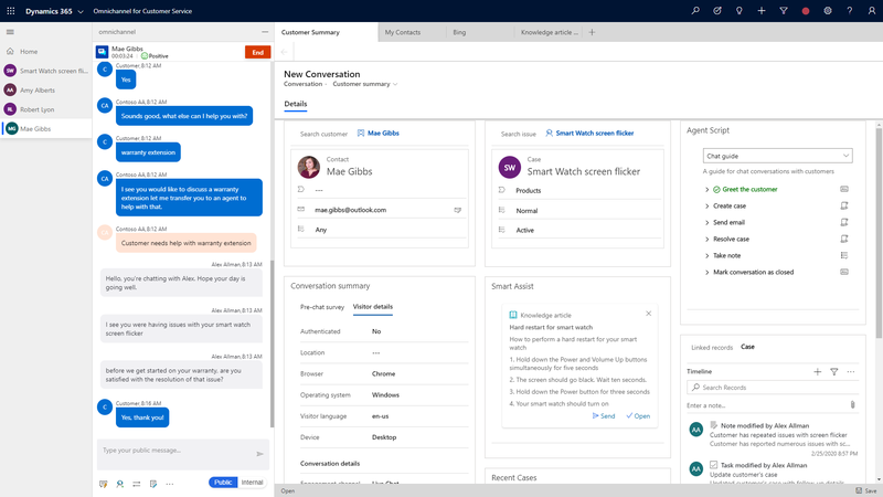 The Dynamics 365 customer service dashboard contains a pane with the customer-chatbot-agent conversation and other information to enhance the customer service experience.