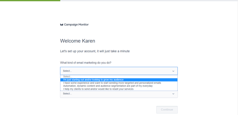 Campaign Monitor vs Mailchimp showing the Campaign Monitor initial set up with a drop down menu to select what type of marketing you'll be doing.