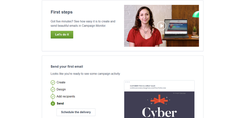 Campaign Monitor initial set up with a check list to create, design, add recipients and then send your first email.