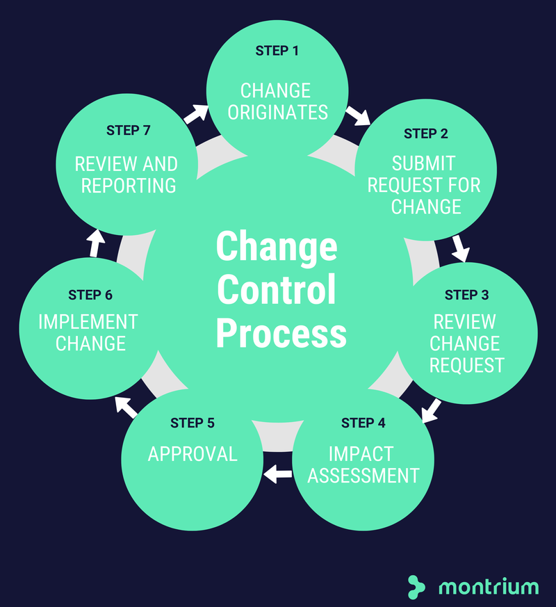 The seven-step change control process is illustrated with numbered steps and directional arrows.