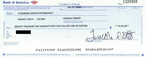A fake cashier's check that looks like it came from Bank of America.