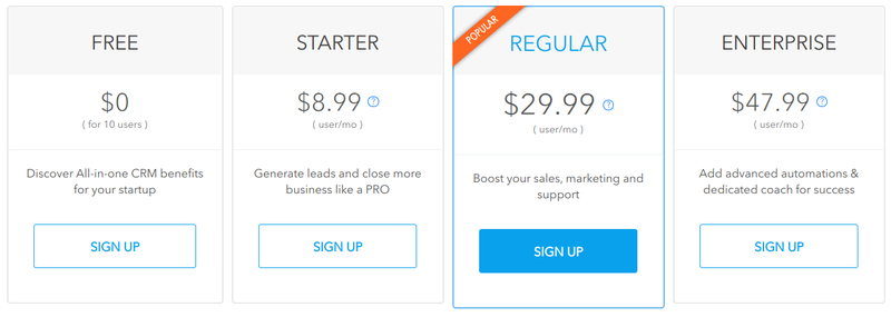 Agile CRM's pricing schedule ranges from a free option to an enterprise level that is only $48/month per user.