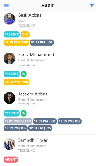 ClockIt Attendance Audit Mobile Screenshot
