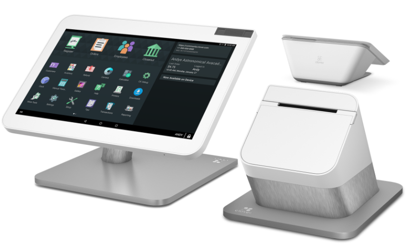 Clover's top-tier POS hardware package includes a mounted touch-screen register, card reader, and customer terminal.