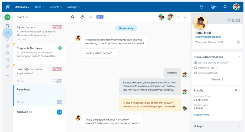 The Help Scout interface uses multiple content panes to list all current conversations, an individual conversation, and more.