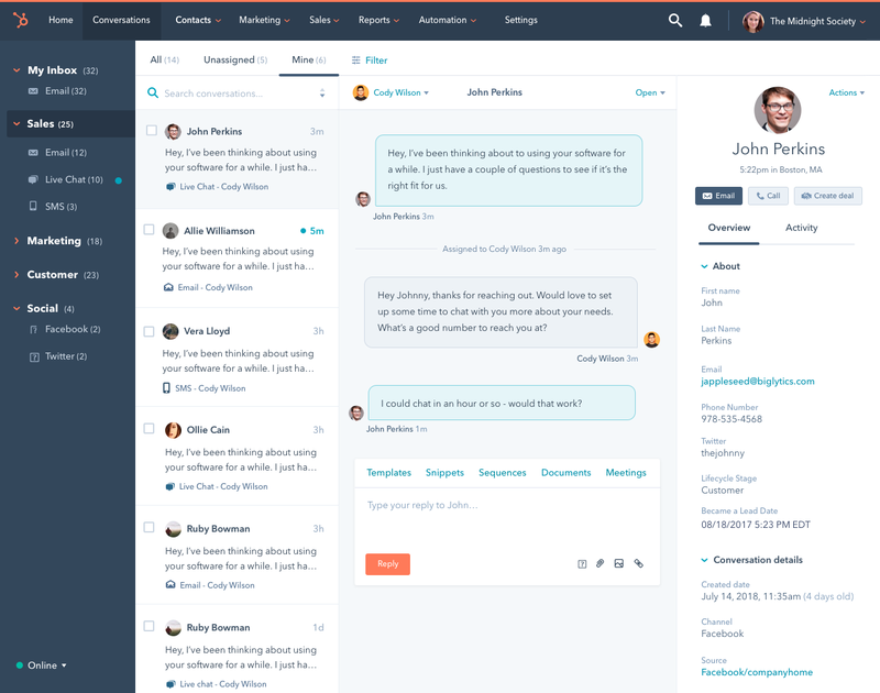 HubSpot's CRM interface includes a left-hand menu that allows agents to switch between different communication channels.