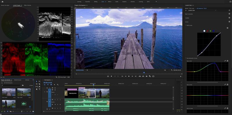 The Lumetri Color workspace in Premiere Pro.