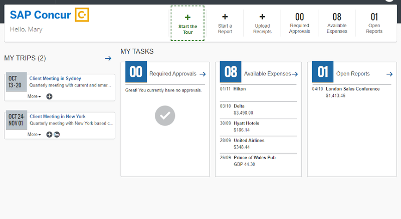 Concur Expense homepage with trips, tasks, and expenses.