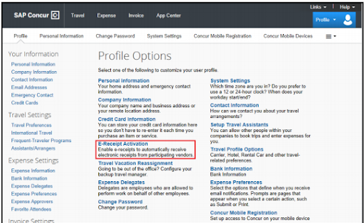 The Profile Options screen with a list of all options that can be used in Concur Expense.