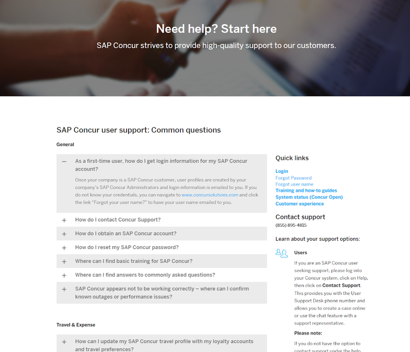 Concur Expense's support page with FAQs and quick links.
