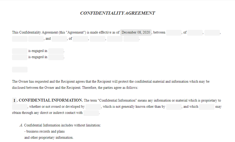 A confidentiality agreement template.