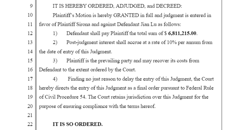 A judge's order for Jian Lu to pay Sirona $6.8 million in damages.