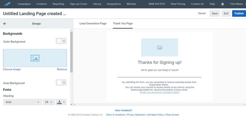 Constant Contact Landing Page Screenshot