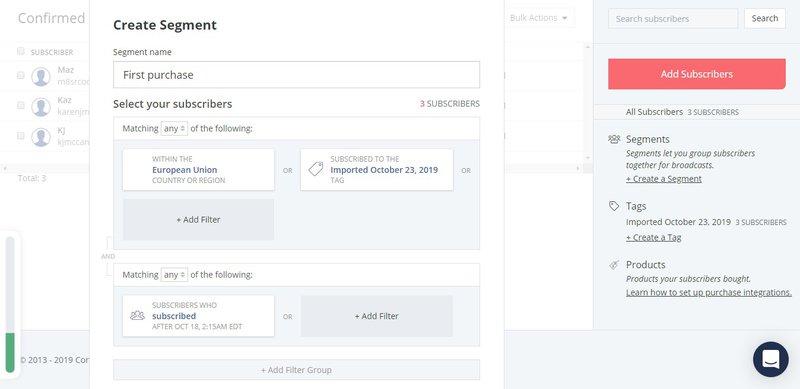 ConvertKit email segmentation tool