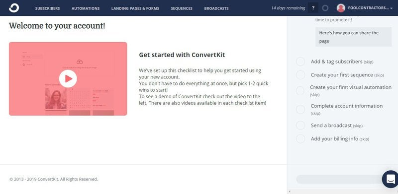 ConvertKit home page with welcome video