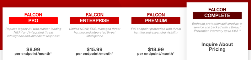 CrowdStrike pricing is broken out into four packages.
