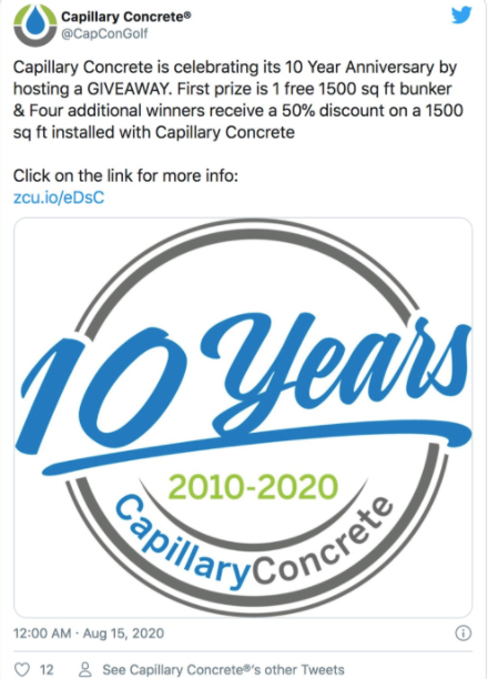 A tweet with a photo showing Capillary Concrete is celebrating 10 years.