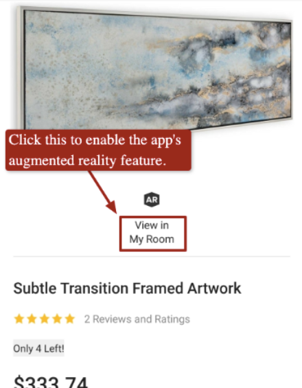 Houzz AR feature for website visitor's