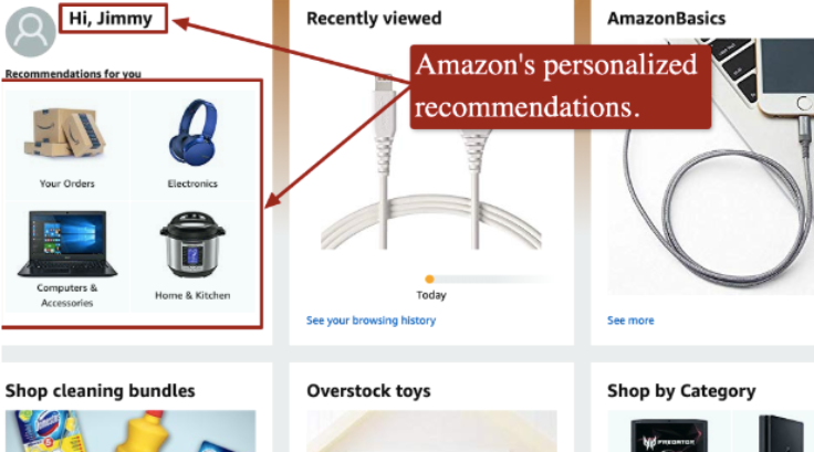 Screenshot of Amazon's recommended products section on their website.