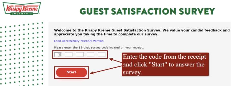 A screenshot of Krispy Kreme's satisfaction survey.